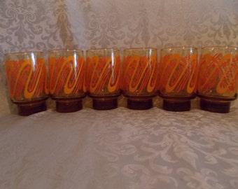 Vintage 1970'S Harvest Gold and Orange Swirl Design Glasses Set Of 6 (1170)
