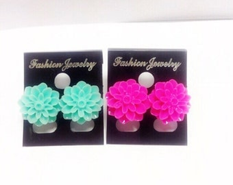 Chrysanthemum stud earrings | Pink and Green | Lilly Rose