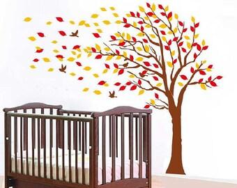 Large Autumn Tree decal, nursery vinyl decal, tree wall decal, Vinyl Wall Decal bird stickers K024