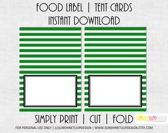 Stripe printable Party Table Tent Cards Labels Kelly Green and White by SUNSHINETULIPDESIGN