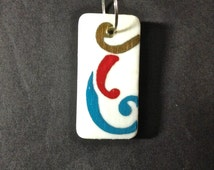 Domino, Hand Painted Domino, Abstract, Charm
