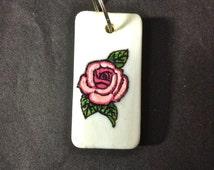 Domino, Hand Painted Domino, Pink Rose, Charm