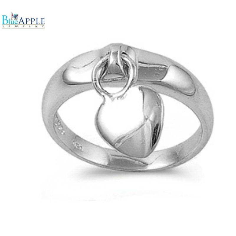 inspired dangling promise charm ring solid 925 sterling