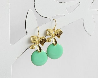 Ich bin Luxus - 'Emaille for YOU - minty mint' orchid earrings