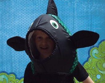 Fish Costume  Fits Adult or Child  Holographic Green/Black foil fabric, covered foam head with underarm ties, lined