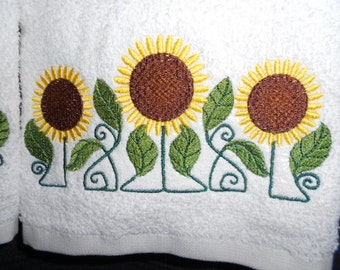 PAIR hand towels - Sunflower trio - EMBROIDERED 15 x 25 inch for kitchen or bath