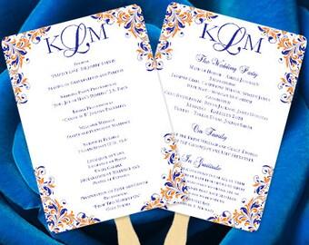 Fan Wedding Programs Kaitlyn Royal Blue Orange Monogram Printable Template Order Of Service