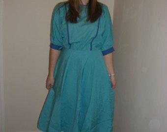 Beautiful Blue Batwing 1980's Dress Size 10