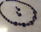 Black, copper and chocolate pearls necklace and earrings set