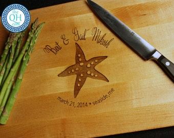 Personalized Maple Cutting Board BOOS Custom Engraved Starfish Love Design Beach Ocean Seaside Sea Nautical Theme Wedding Anniversary Gift
