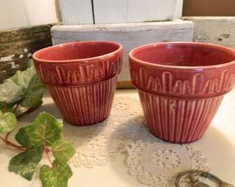 Set of 2 Vintage 30's Dark Pink Planters