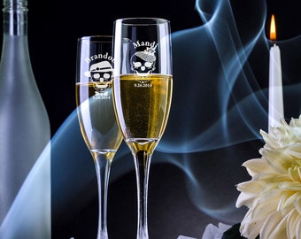2 Engraved Sugar Skull Champagne Flutes - Custom Champagne Glasses - Engraved Champagne Flutes -Wedding Flutes -Personalized Champagne Flute
