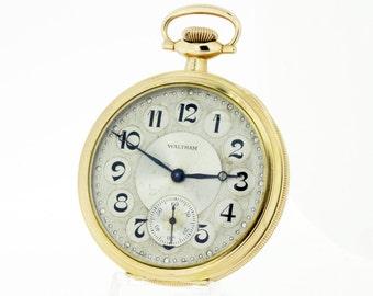 14K Waltham Pocket Watch 17 Jewel Movement