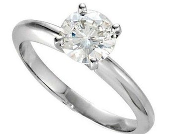 Brilliant Round Cut Engagement Ring 1.00 Carat 4 Prong Solitaire Design Solid 14K White Gold