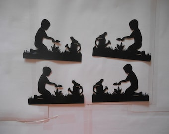 4 Little boy Planting his Garden Silhouettes