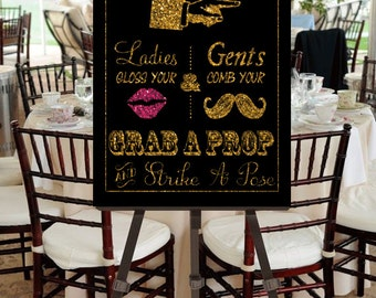 "Instant Download- Printable JPEG DIY Gold Glitter Effect & Pink Glitter Effect Lips Wedding Sign: ""Fancy Photobooth"" Large 16"" x 20"" Signage"