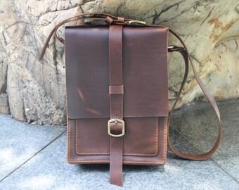leather messenger bag,mens leather messenger bag, Tablet PC bag, laptop bag, handmade.