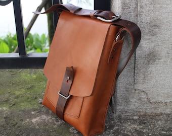 leather messenger bag,mens leather messenger bag, schoolbag,Tablet PC bag, laptop bag, handmade,Gift.