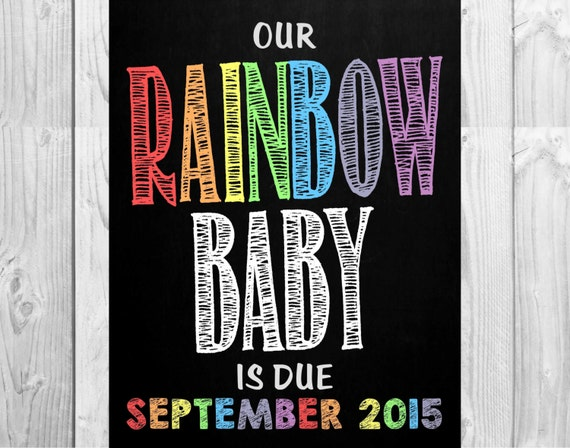 Rainbow Baby Pregnancy Announcement Chalkboard Photo Prop