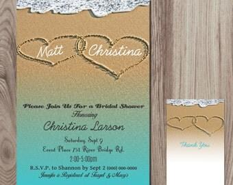 Heart in Sand  Bridal Shower Invitation DIY Printable