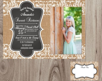 Burlap and Lace Sweet Sixteen Party Invitation w/ Picture DIY Printable