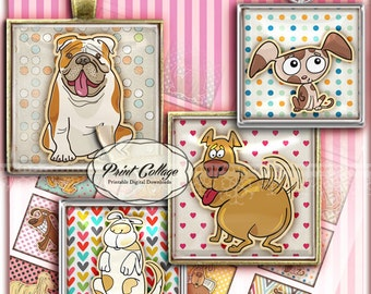 Dogs Printable images for pendants magnets  1.5 inch 1inch 20mm Square Digital Collage Sheet paper craft c111