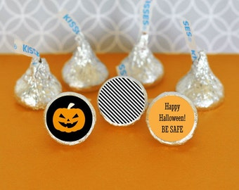 Chocolate Kisses-Hershey® Kiss Labels - Personalized Hershey's® Kisses Halloween Party Favors - Candy Kiss Labels - 108 custom stickers trio