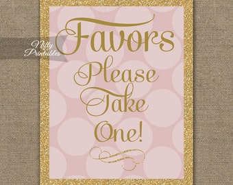 Favors Sign - Gold Pink Favor Sign - Glitter Favors Table Signs - Printable Wedding Baby Bridal Shower Signs - Take A Favor Table Sign PHD