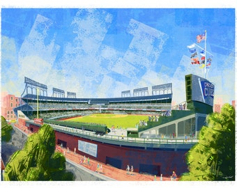 Wrigley Field Poster, Wrigley Field: A View From the Rooftops, Chicago Cubs, Cubs, Cubs Stadium, Wrigleyville, Chicago, MLB, Baseball