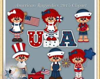 Raggedy Clipart, Independence Day, July 4th, Patriotic, American Raggedies 2015