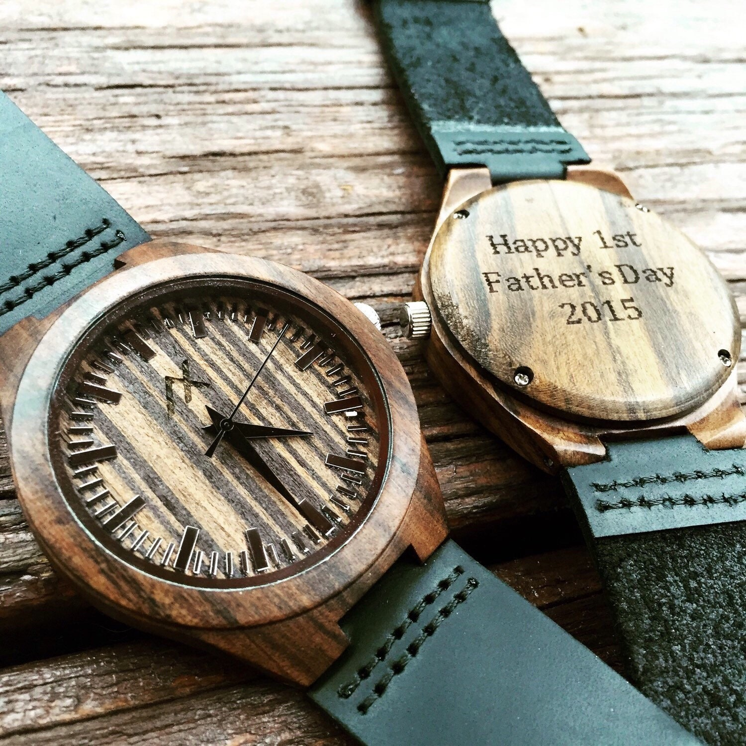 and custom from fathers set watches gift wood men day anniversary watch son mens of band