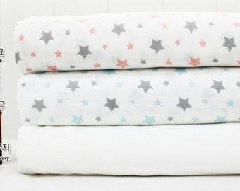 Bamboo Double Gauze Fabric Star in 2 Colors By The Yard