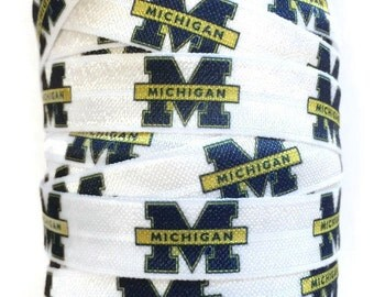 5/8 inch FOE Elastic Michigan Ribbon, Michigan Ribbon, Michigan Hair Tie Ribbon, Sports Ribbon, Elastic By The Yard by KC Elastic Ties