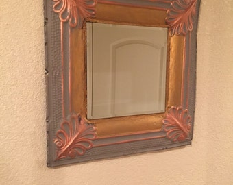Antique ceiling tile mirror, grey with copper and gold