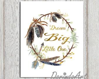 Dream big little one print Navy blue gold printable Feather wreath Nursery wall art Arrow Boys bedroom decor Boys wall art quote DOWNLOAD