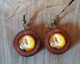 Quirky girl on yellow background wood and glass earrings