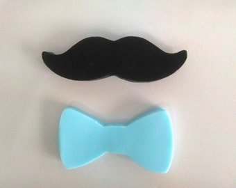 Moustache and bow tie mini soap| Soap party favor| Baby boy shower set of 10