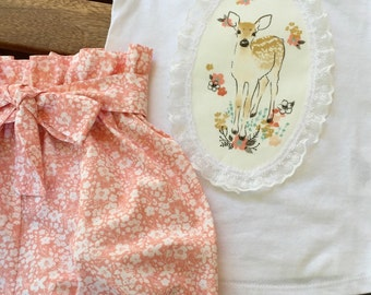 Girl's Bubble Bloomers And T-shirt With Fawn Applique set, Fawn in Tulip, Forget Me Not in Tulip