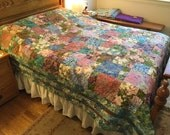 Monet Garden queen-sized reversible quilt