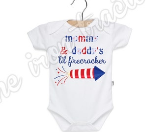 Mommy Daddy Lil Firecrakcer Iron On / Shirt / Onesie / Bib ~ Summer ~ Fireworks ~ July 4 ~ Personalized