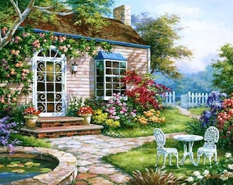 Spring Patio 1 - Counted cross stitch pattern in PDF format