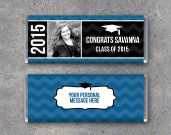 Personalized Graduation Hershey Candy Bar Wrappers – Printable Files – Party Favors customized w/ your graduate's photo, name & school color
