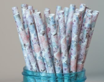 30 Floral Paper Straws - Blue, Purple, Gray & Pink Floral Straws - Pack of 30