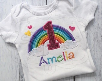 Rainbow Birthday Shirt OR Bodysuit. Custom appliquéd & embroidered. By Sixpence Crafts