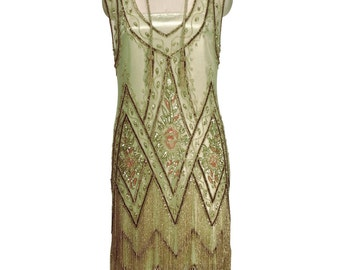 Limited Edition GATSBY GARDEN Beaded Flapper Fringe ICON Gown by Deco Haus