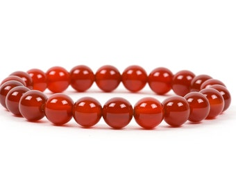 Carnelian Bracelet, Dark Red Genuine Gemstone Stacking Bracelet