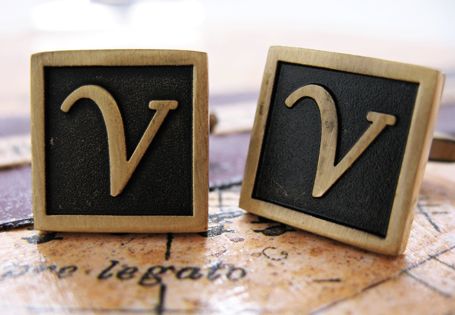v initial cufflinks antique brass square 3 d letter vintage english lettering cuff links groom