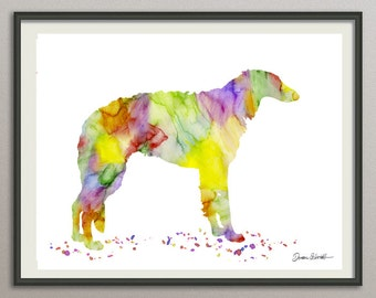 borzoi art print watercolor print silhouette painting print poster wall art decor, dog painting print