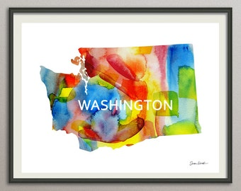 washington state art print wall art decor poster watercolor painting, united state art print wall art