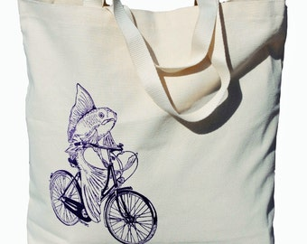 Canvas Tote Bag - Big Tote Bags - Beach Bag Totes - Canvas Bags - Fish Tote Nautical Theme - Gifts for Friends